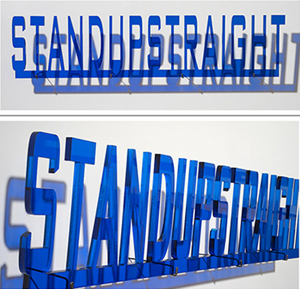 Stand Up Straight, 7 x 36 inches / 18 x 91 cm, plexiglass, edition 1/7, 2014