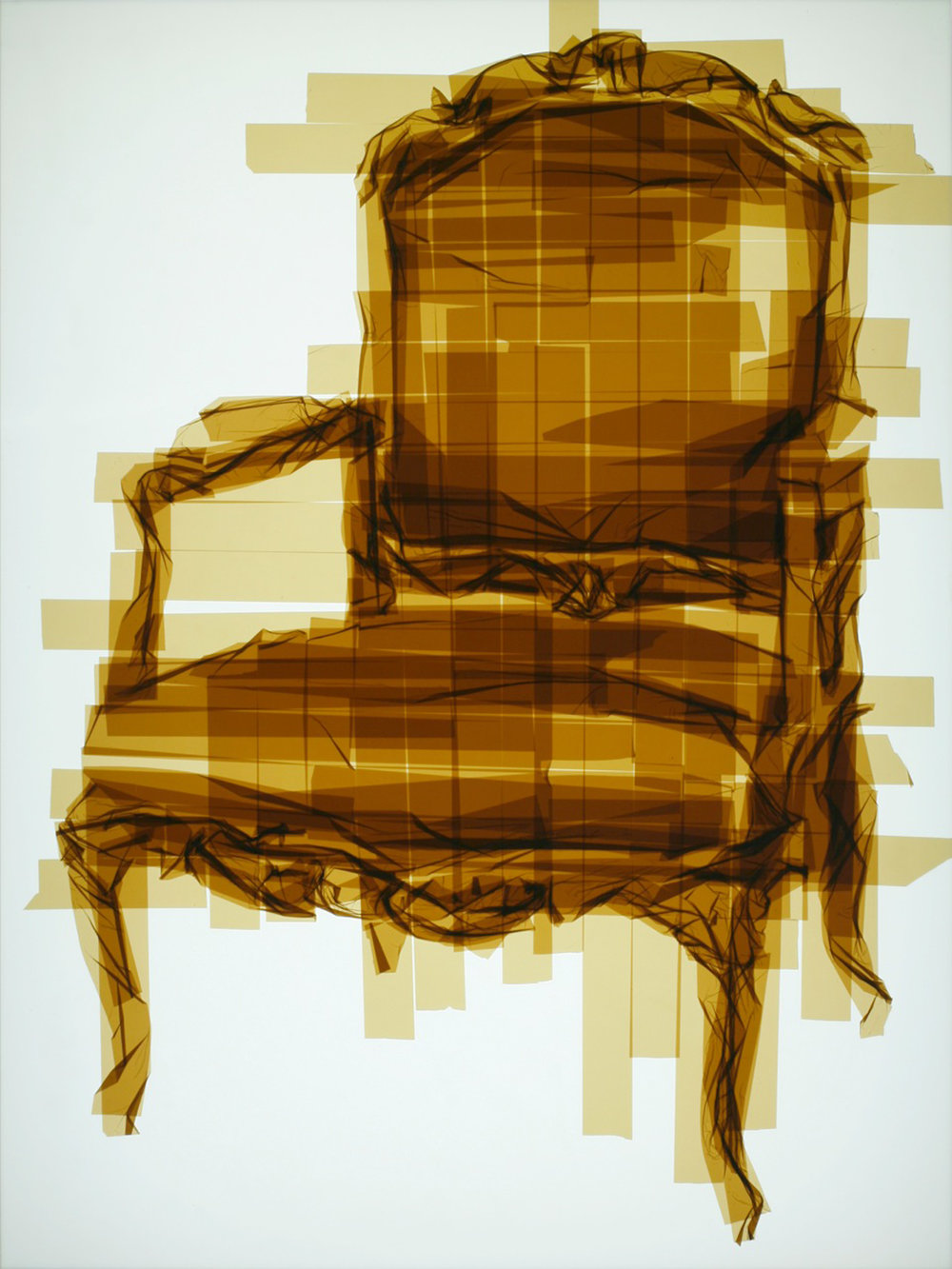 Chair 14, 49 x 37 x 4.5 inches / 124.5 x 94 x 11.5 cm, packaging tape on acrylic panels with LED light box, 2015
