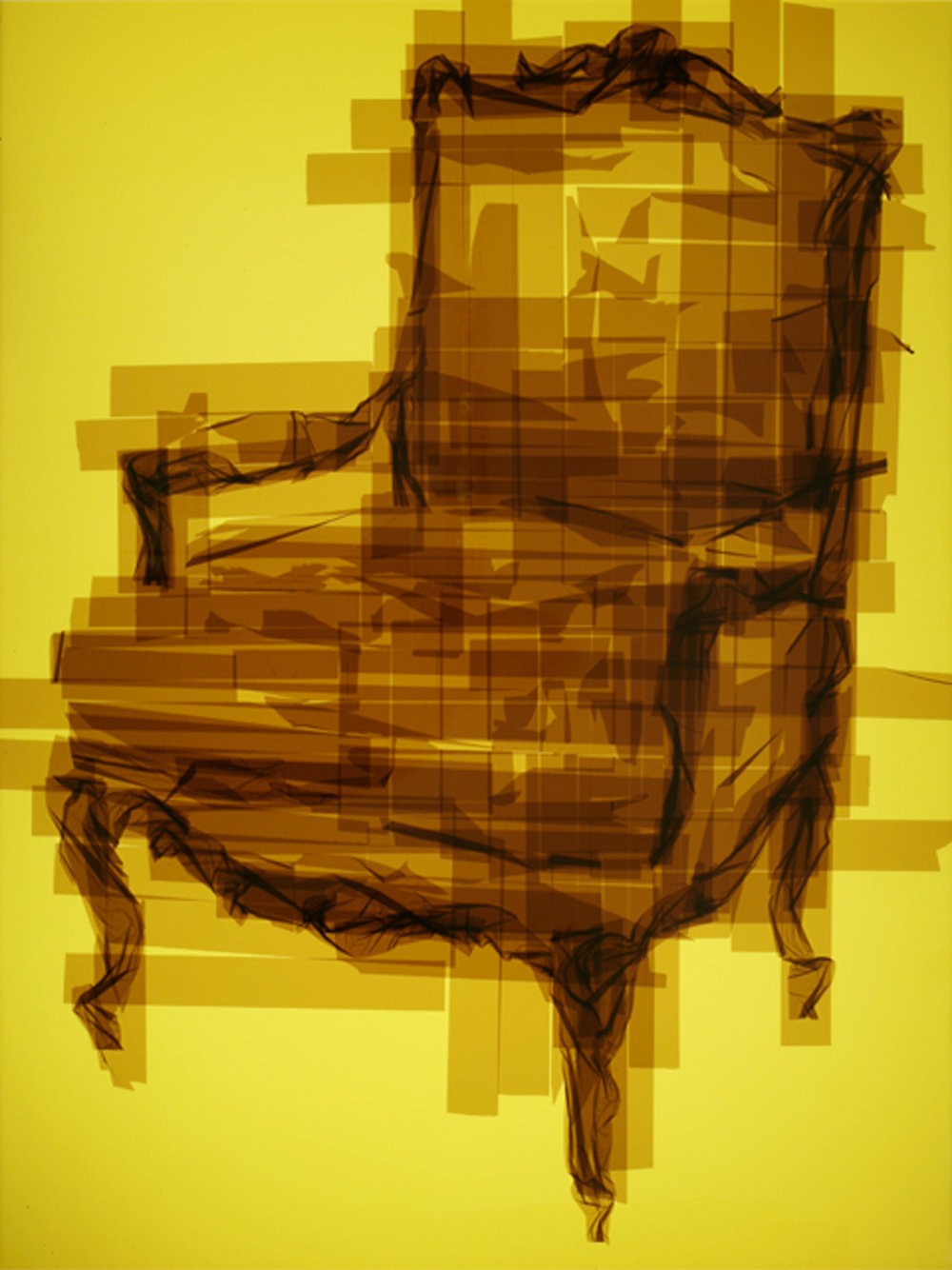Chair 15, 49 x 37 x 4.5 inches / 124.5 x 94 x 11.5 cm, translucent packaging tape on acrylic panels with LED light box, 2015