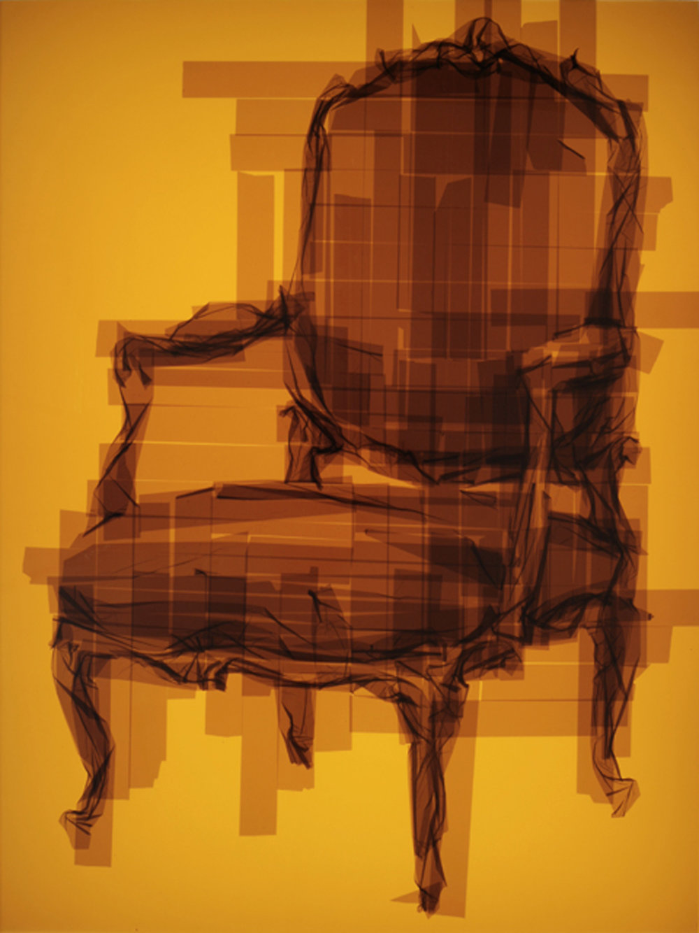 Chair 17, 49 x 37 x 4.5 inches / 124.5 x 94 x 11.5 cm, packaging tape on acrylic panels with LED light box, 2015