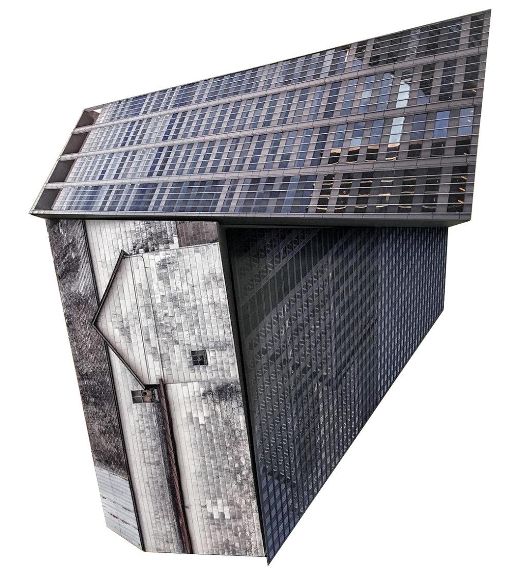 KRISTA SVALBONAS | Migrator 14, 30 x 30 x 6 inches / 76.2 x 76.2 x 15.2 cm, UV print on dibond on mdf, 2018