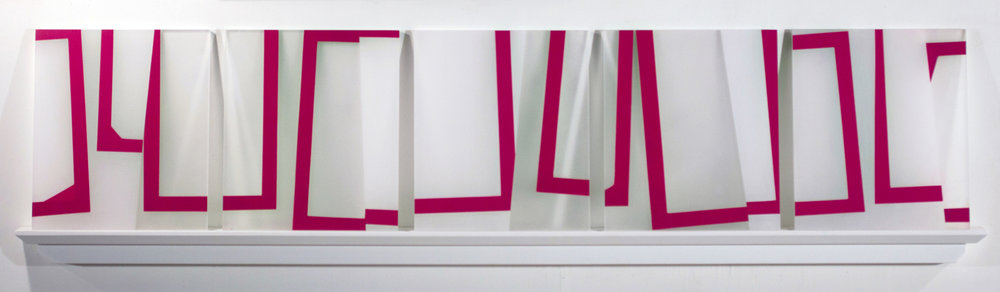 Jump Cut K1, 17.5 x 72 x 3 inches / 44.5 x 182.9 x 7.6 cm, 5 panels, acrylic on plexiglass on shelf, 2018