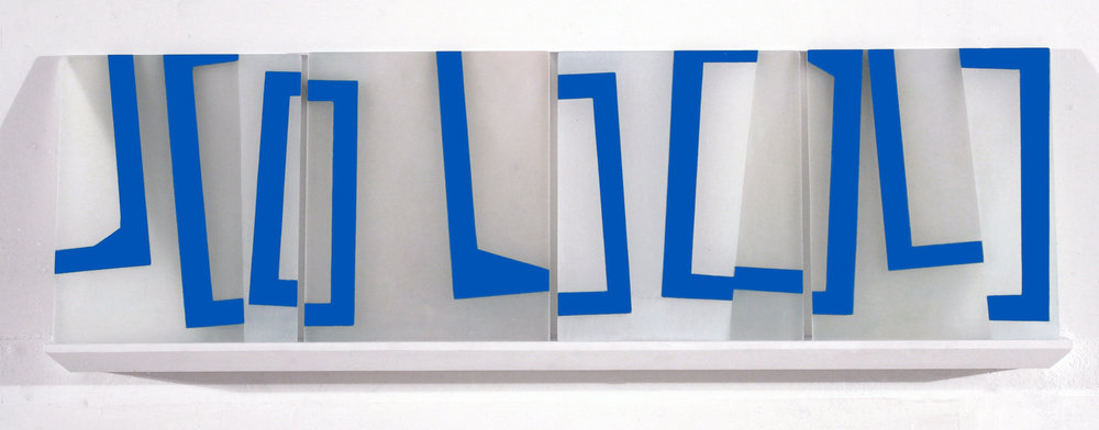 Mobility of Frames K1, 12 x 37.5 x 3 inches / 30.5 x 95.3 x 7.6 cm, 3 panels, acrylic on plexiglass on shelf, 2018