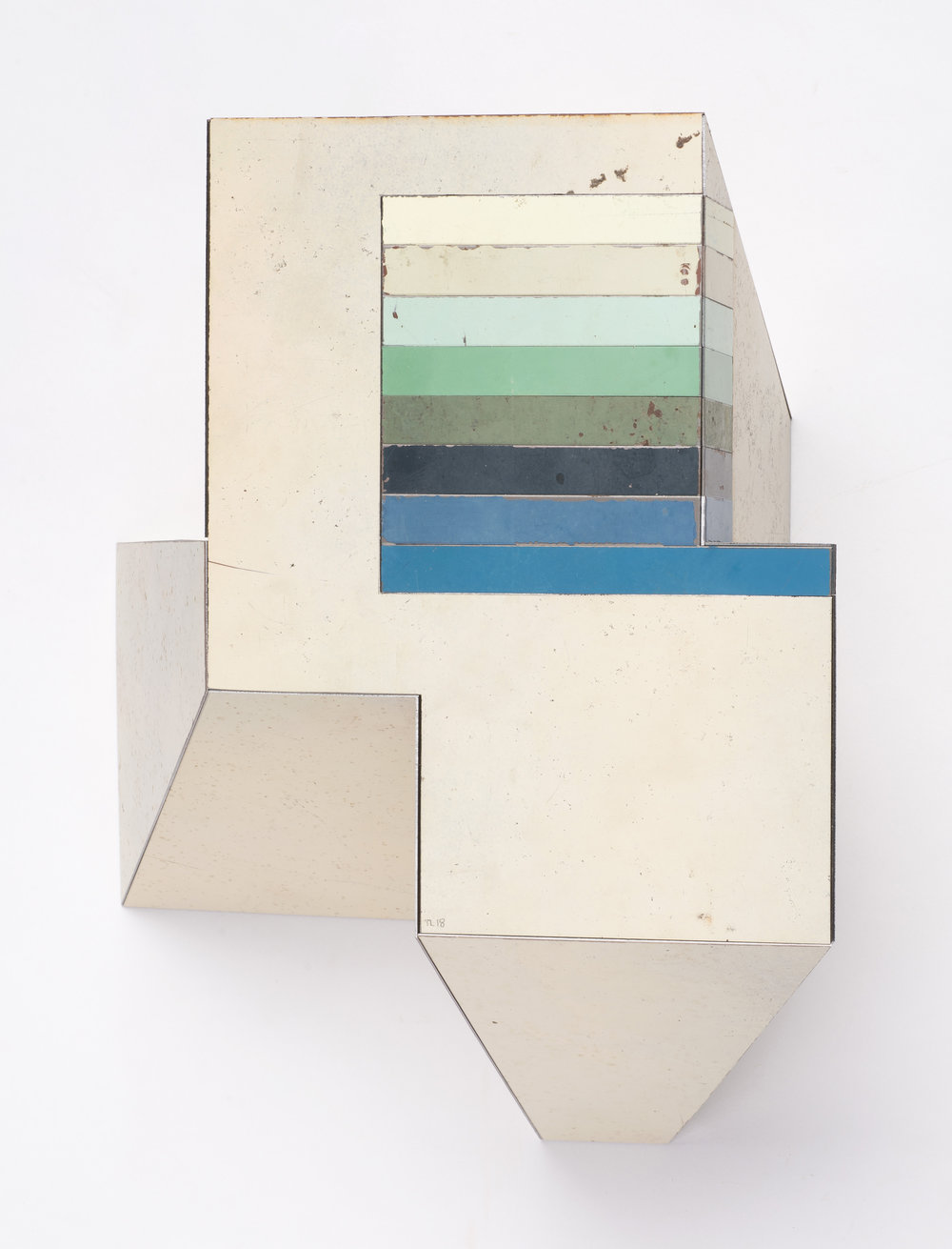 Straight Angle, 11.5 x 10 x 5 inches / 29.2 x 25.4 x 12.7 cm, salvage steel, marine-grade plywood, silicone, vulcanized rubber, hardware, 2018