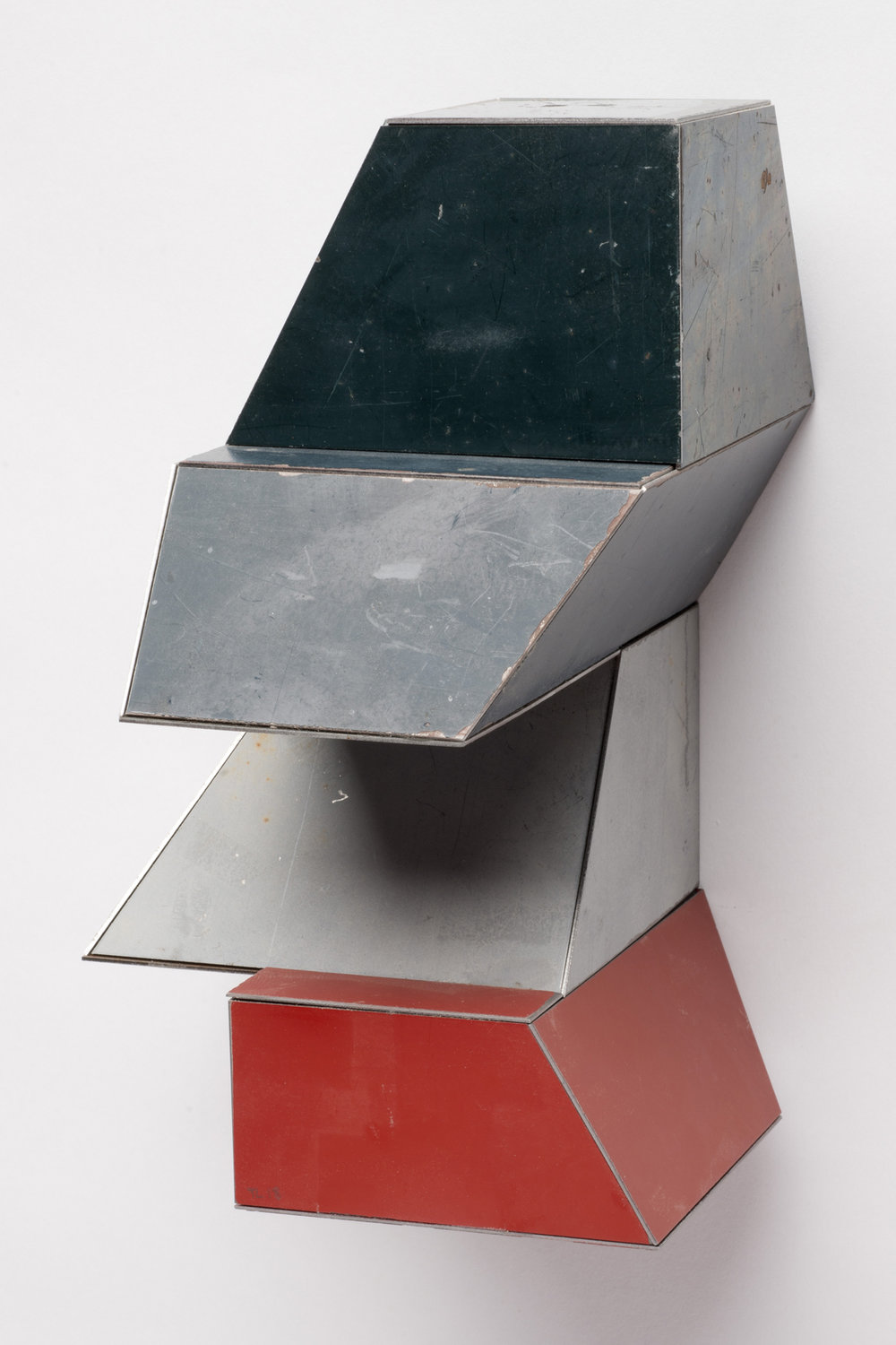 Mini Jumbo, 7.5 x 4.5 x 5 inches / 19 x 11.4 x 12.7 cm, salvage steel, marine-grade plywood, silicone, vulcanized rubber, hardware, 2018