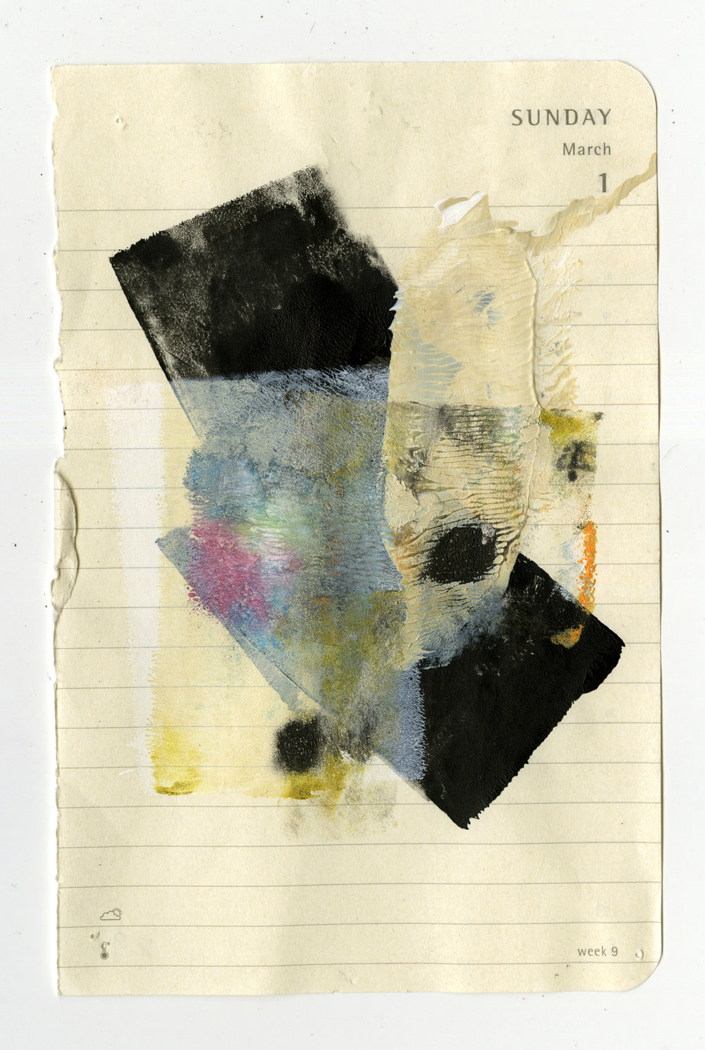 RITA BERNSTEIN | Diary Page (March 1), 5.5 x 3.5 inches / 14 x 8.9 cm, oil, charcoal, graphite on paper, 2018
