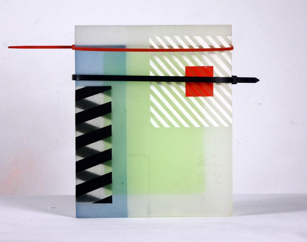 NOAH KASHIANI | Relic, 13 x 10 x 1 inches / 33 x 25.4 x 2.5 cm, acrylic, epoxy resin, zip ties, 2018