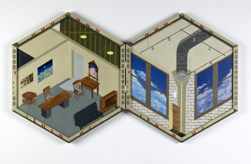 ZACHARY SIMONSON | Skybox (interior), 19 x 44 inches / 48.3 x 111.8 cm, acrylic, collage on hinged diptych panels, 2018