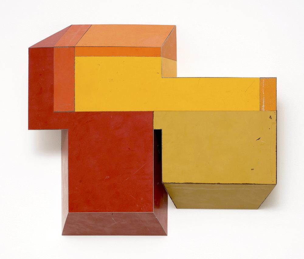 Random Logic, 19 x 22.5 x 4 inches / 49 x 57 x 10 cm, salvage steel, marine-grade plywood, silicone, vulcanized rubber, hardware, 2018