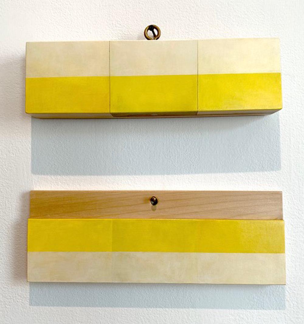 Spring for Raoul De Keyser #7, 4 x 15 x 1.75 inches / 10 x 38 x 4.5 cm (top), 5 x 14.125 x 0.75 inches / 12.5 x 36 x 2 cm (bottom), acrylic on poplar, 2019