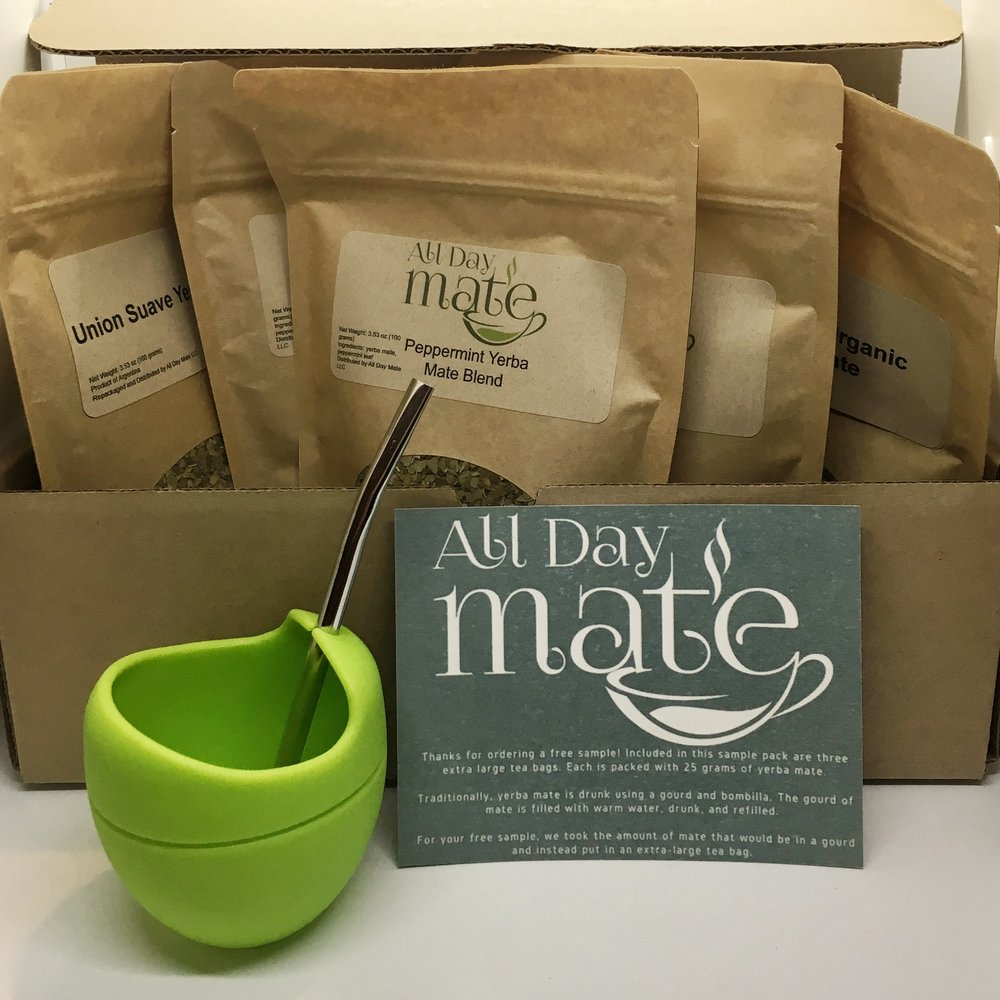 Your Welcome Box - Your first box includes all the gear you need to enjoy yerba mate from a gourd:- 1 silicone yerba mate gourd (dishwasher safe, doesn't leech chemicals, and super portable)- 1 metal bombilla straw- 3 different flavors of yerba mate (600 grams total..over 1.3 pounds of yerba mate!) -Instructions on how to prepare yerba mate
