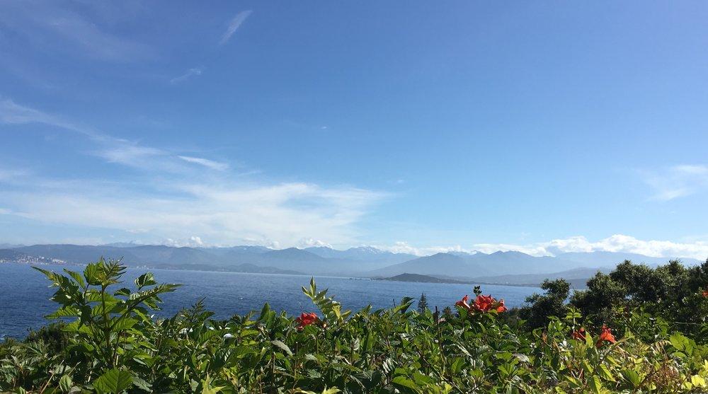 Vue mer et montagnes depuis le jardin