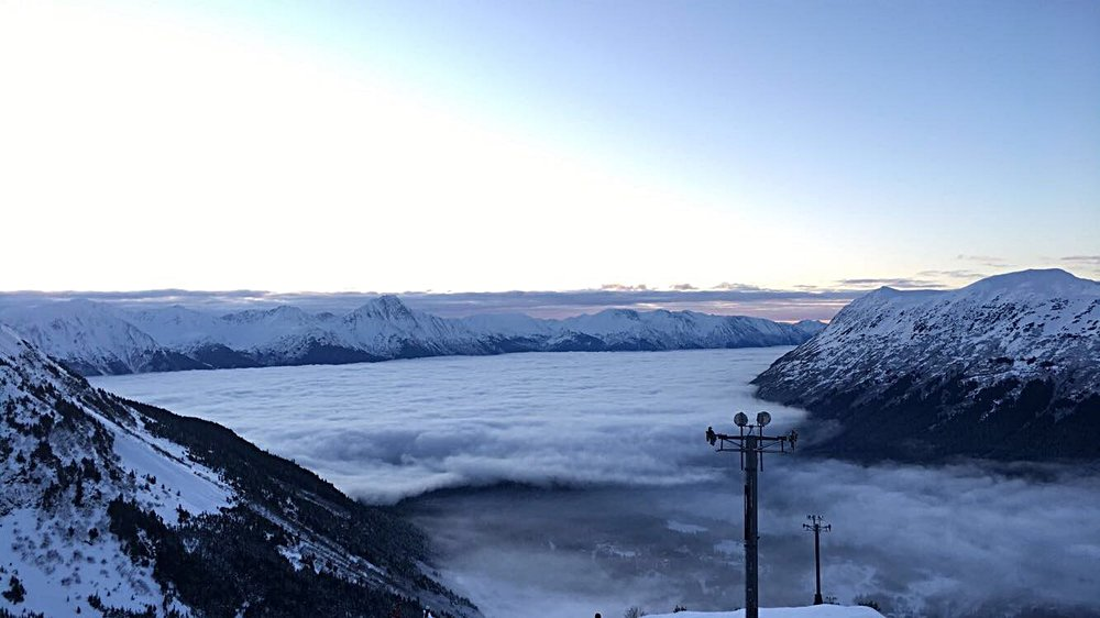 Top of the mountain at the Alyeska Resort. Take the tram up for this breathtaking view.