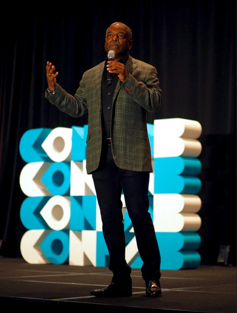 Levar Burton keynotes Confab Central in June of 2017.