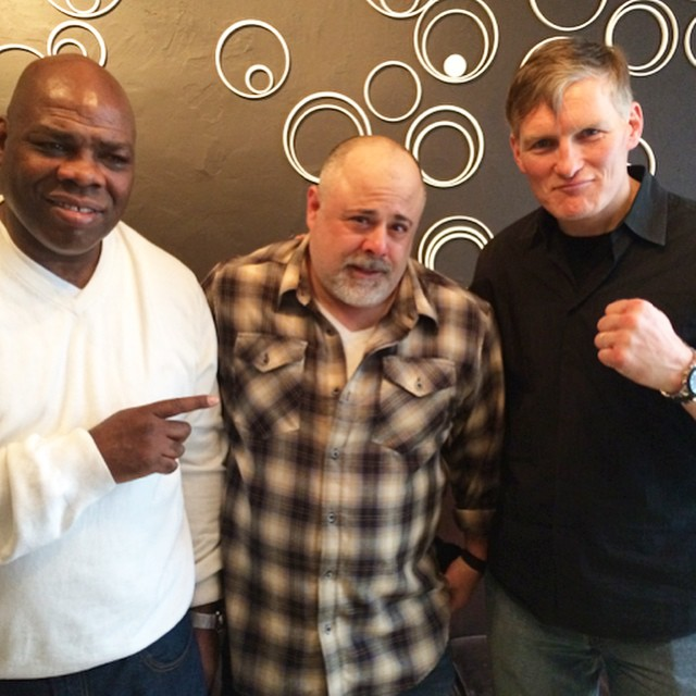 @adamhandelsman looking tough on set with our client #actor @chancekellyactor and #boxer Iran Barkley. Chance is new to Instagram so check out his page and give him a follow!