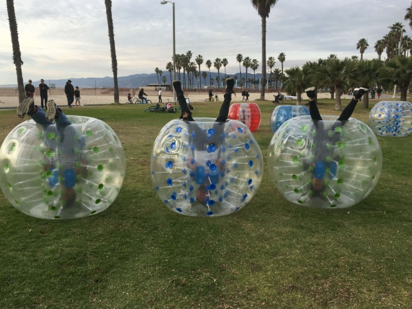 Bubble Soccer Players Upside Down