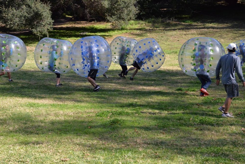 Player in Bubble Suit Bumped and on the Ground