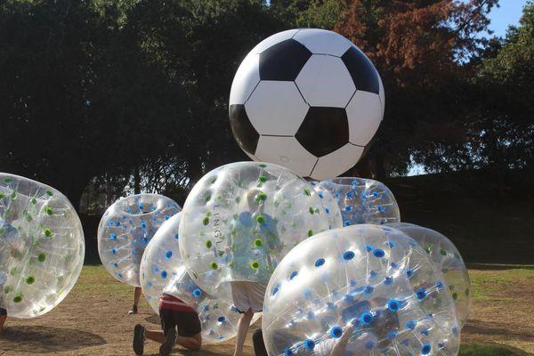 Bubble Ball Suit hits Huge Soccer Ball | Bubble Soccer Rental by AirballingLA