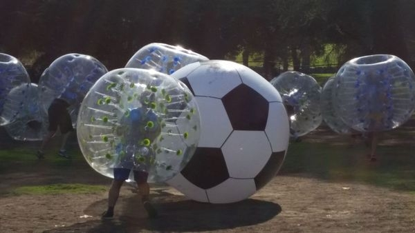 Player in Bubble Ball with Huge Soccer Ball | Bubble Soccer Rental by AirballingLA