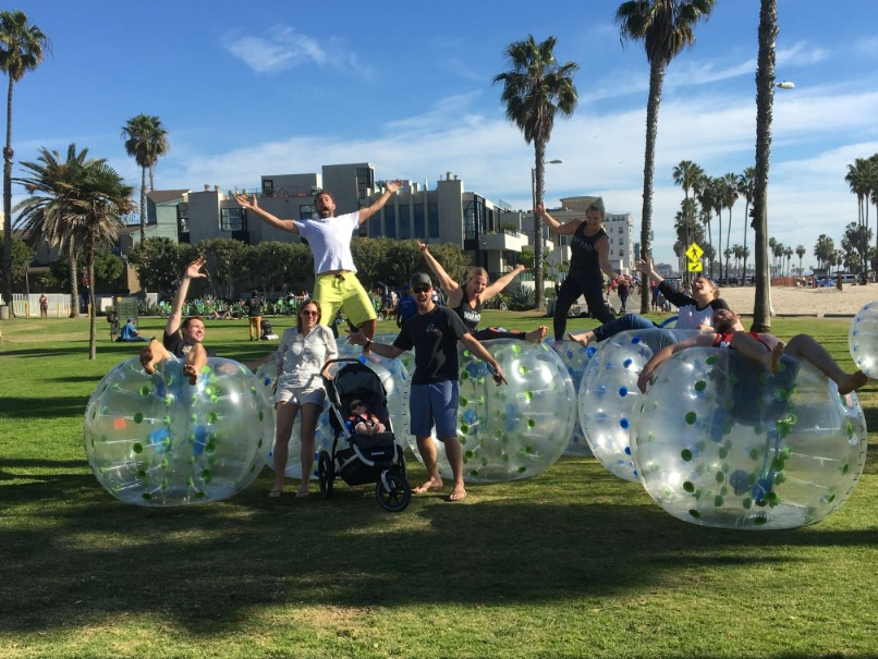 Team-Building through Bubble Soccer at Venice Beach, Los Angeles.