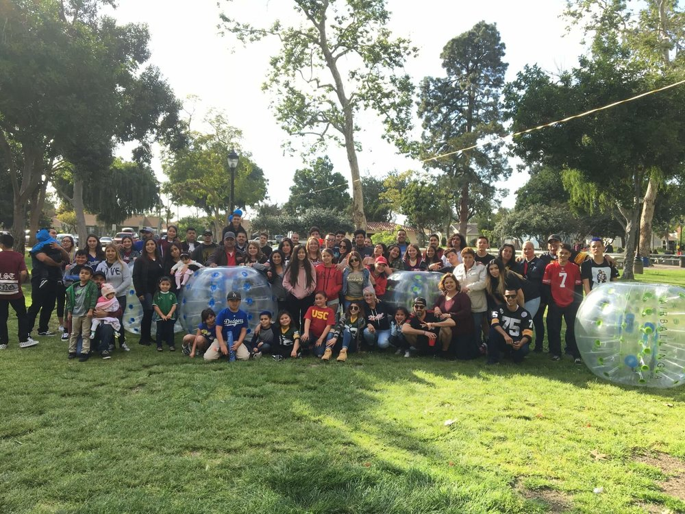 Family and Friends Reunion with Bubble Soccer at South Gate Park, Los Angeles.