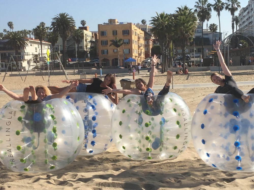 Bubble Soccer Event in Santa Monica. Client got what she wanted. A crazy fun team building event.
