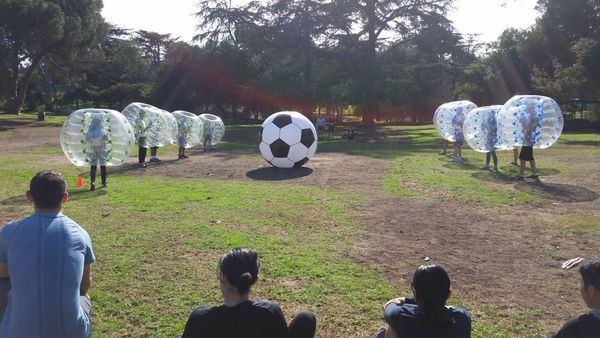 Players ready to play Bubble Soccer