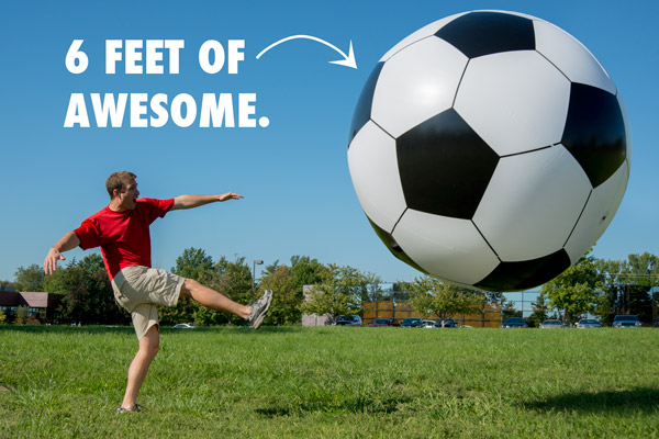 This is our 6ft Inflated Soccer Ball that we use to maximize the novelty of Bubble Soccer Parties.