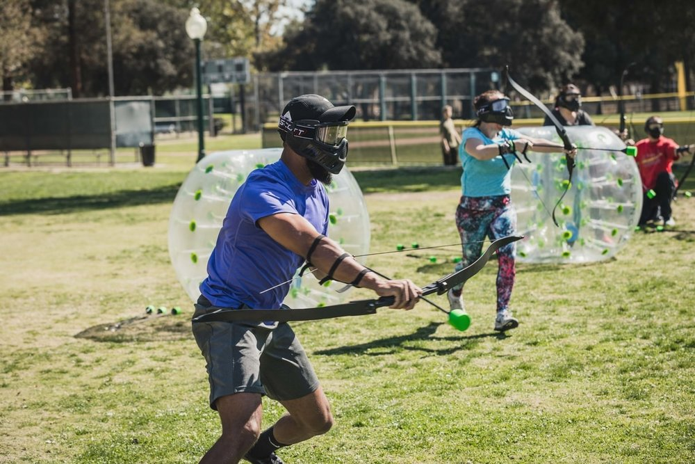 Archery Tag Rental | Archer Running To the Opponent's Side | AirballingLA.jpg
