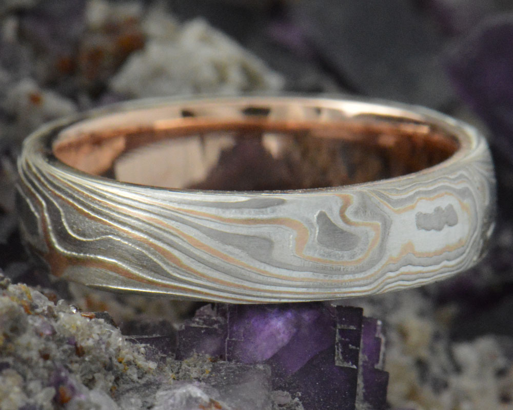Burl - 14k rose gold and palladium with a 14k rose gold liner