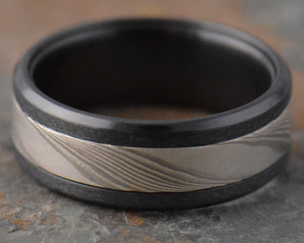 Twist - Palladium mokume inlaid into black zirconium