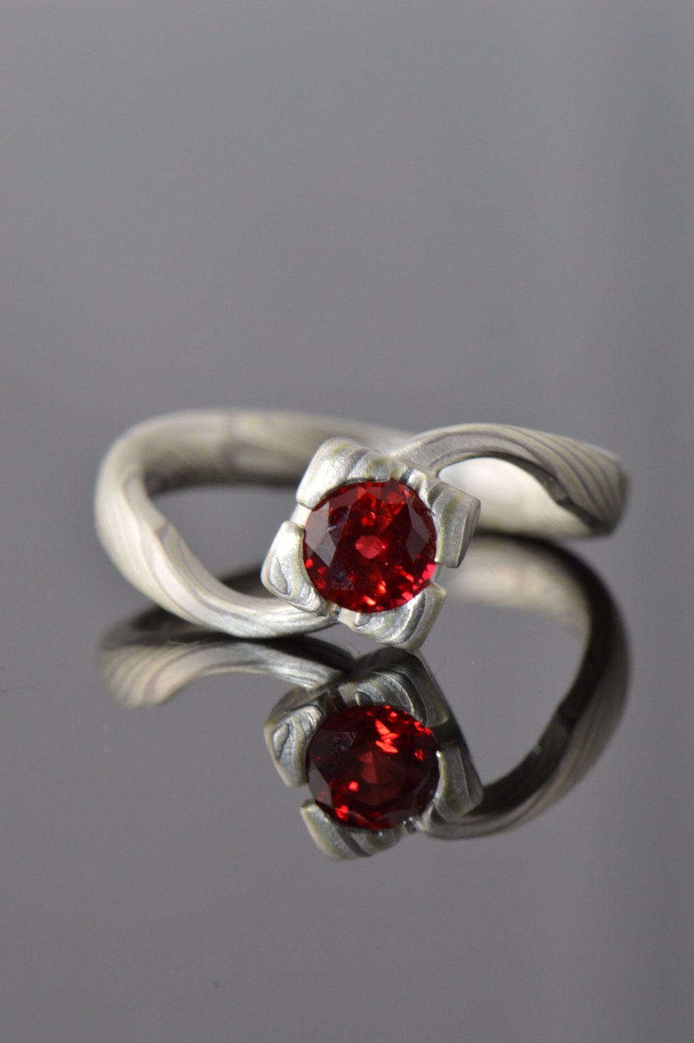 darvier-hand-forged-mokume-ruby-twist-engagement-ring.JPG