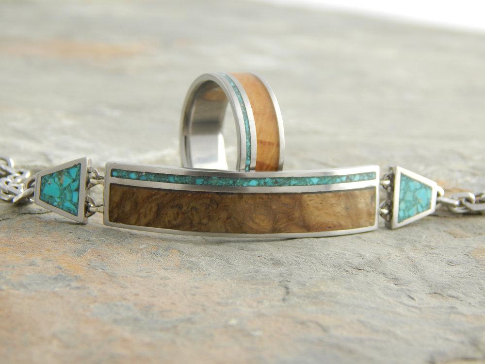 darvier-titanium-burl-turquoise-bracelet-ring-set.JPG