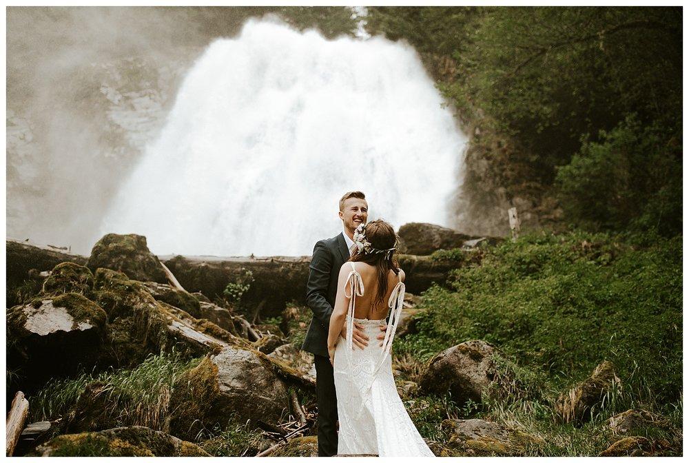 Waterfall Elopement Vancouver Seattle PNW Cassie Trottier Wedding Photographer