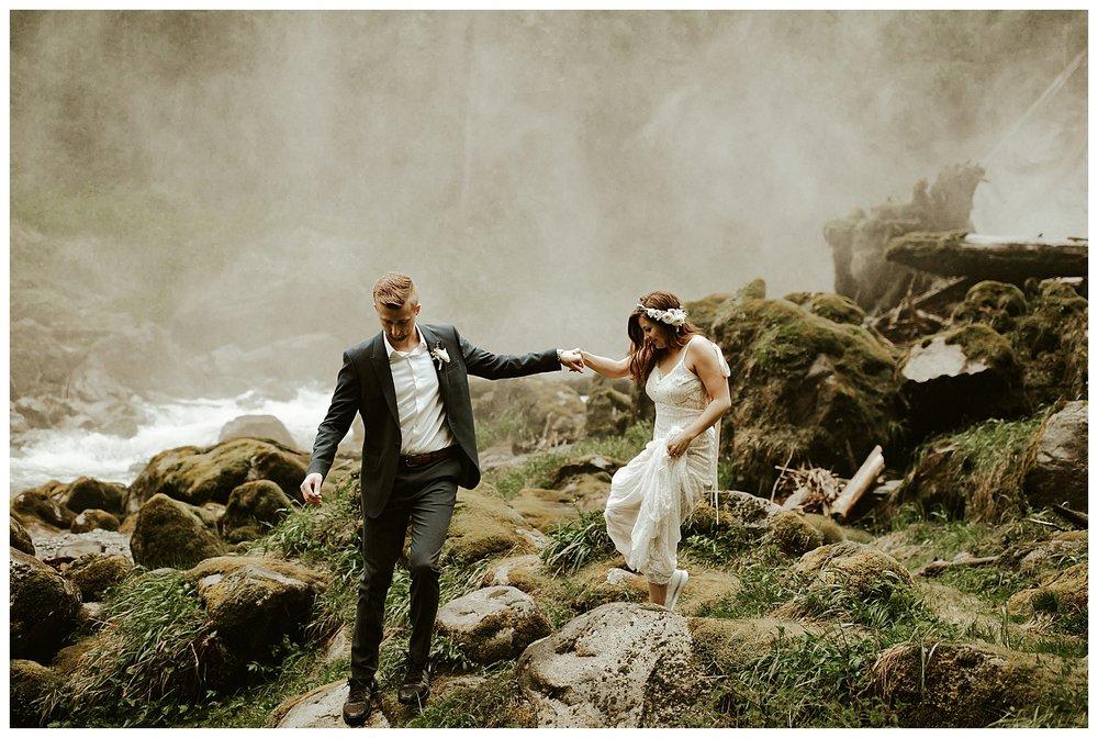 Waterfall Elopement PNW Elopement Photographer Cassie Trottier