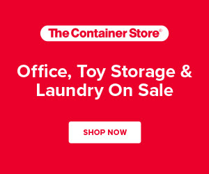 Save on organization for your office and laundry room + save on solutions for toy storage both big and small!