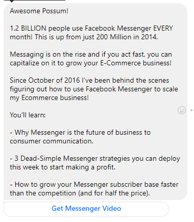 Using Manychat, you can insert buttons at the end of your messages inviting your audience to engage with you.
