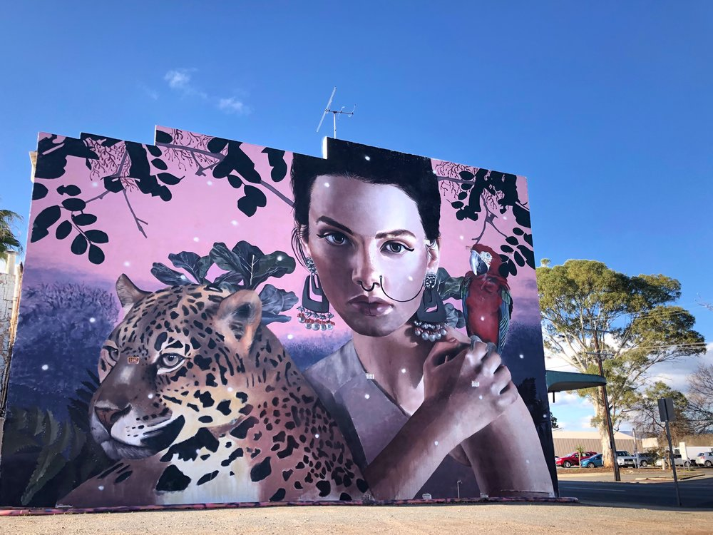 Photo by Lou Chamberlin. Mural by Lisa King,  Jungle Queen,  Adelaide, 2018