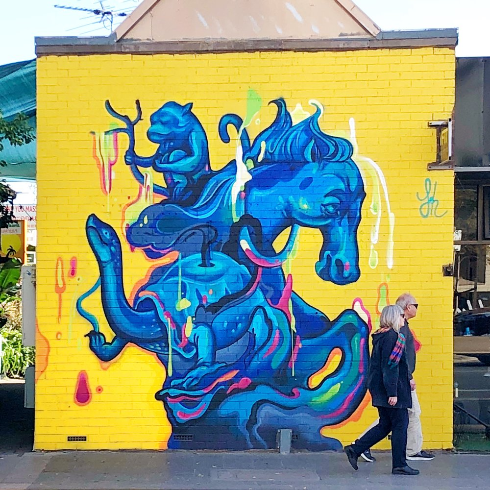 Photo by Lou Chamberlin. Mural by Sarah Boese, Adelaide, 2018.