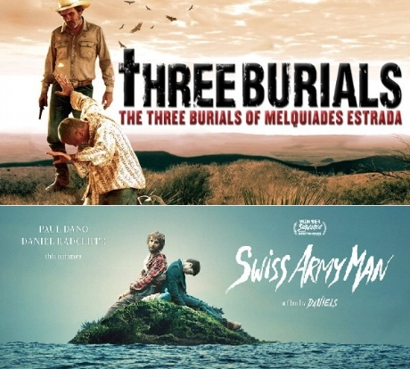 Companionship is a vital component in making the human condition bearable. While there are many ways to depict platonic love on screen, we've decided to focus on the lugging-around-a-putrid-farting-corpse variety with  The Three Burials of Melquiades Estrada  (2005) and  Swiss Army Man  (2016). Join us as we discuss the symbolism of the farts, how to make a primo corpse reviver #2, and what to do with our bodies once they become corpses. It's a bloated, flatulent double feature this week on Ex Rated Movies!