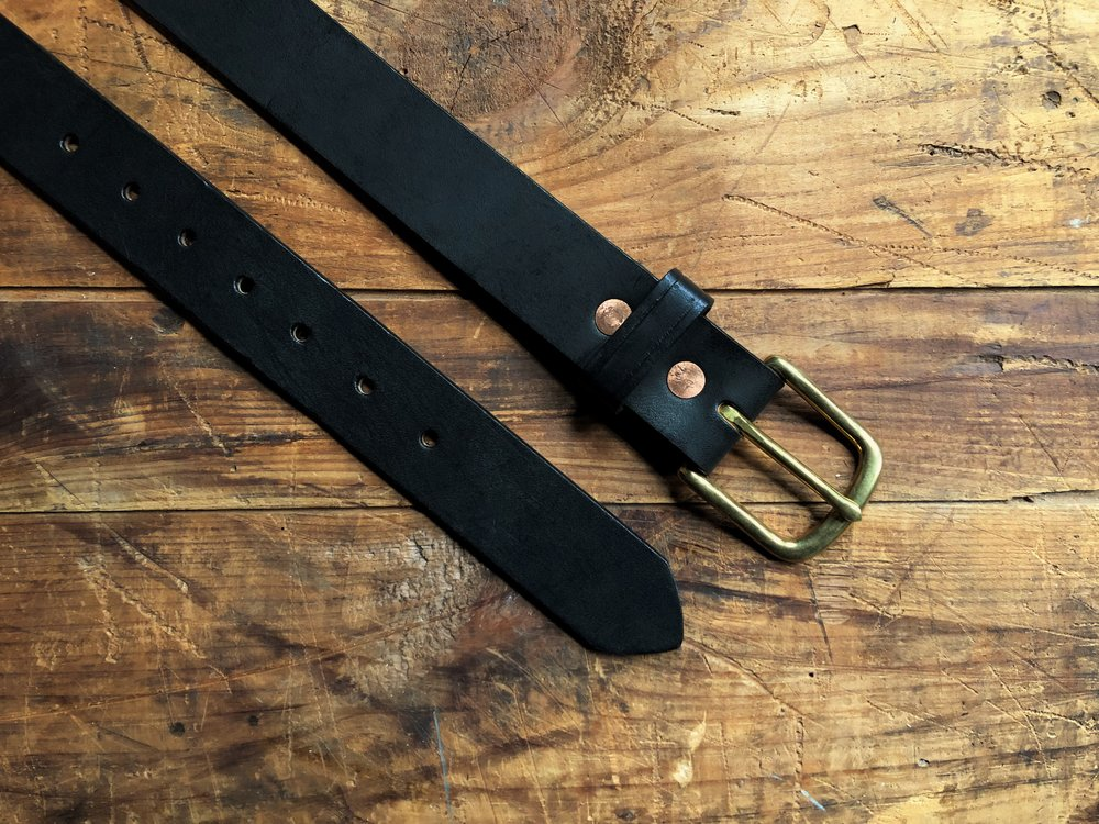 Black English Bridle Leather Belt - 1.5 Inch - 75.00