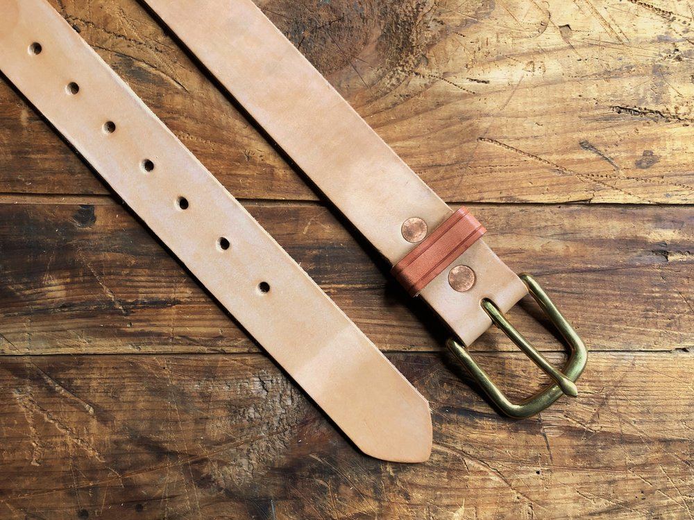 Natural Veg Leather Belt - 1.5 Inch - 65.00