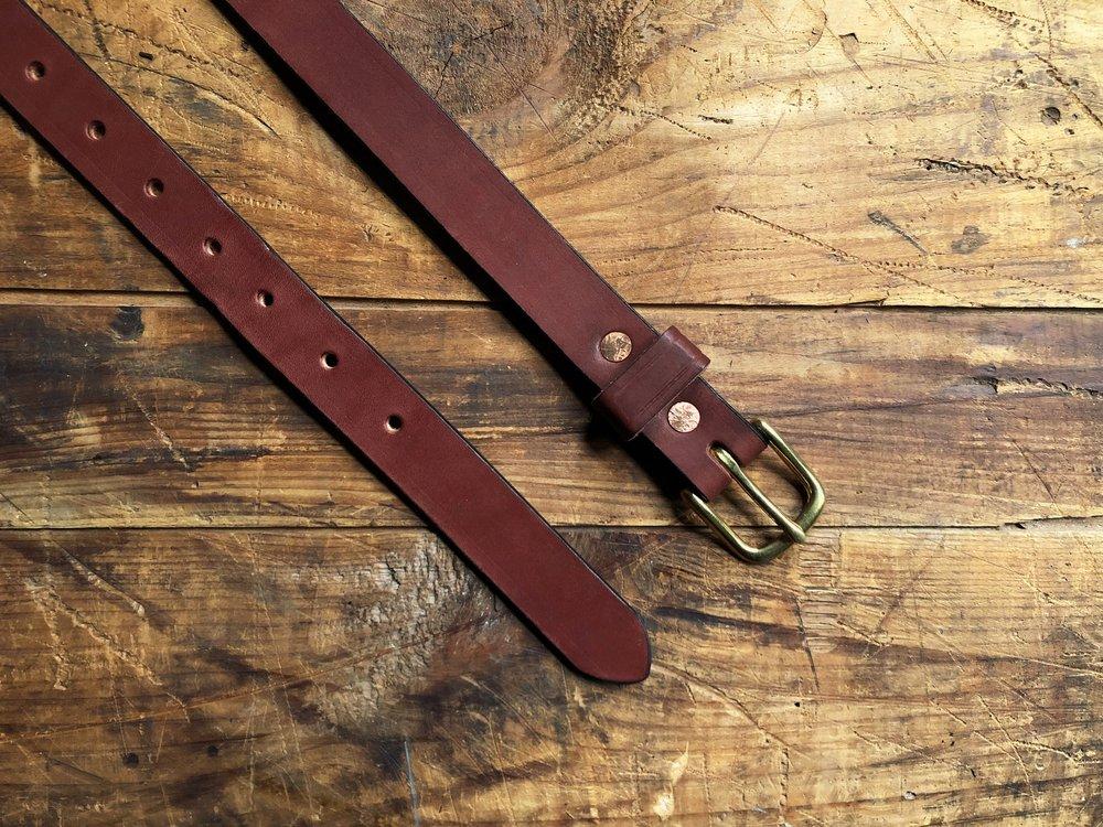 Chestnut English Bridle Leather Belt - 1 Inch - 65.00