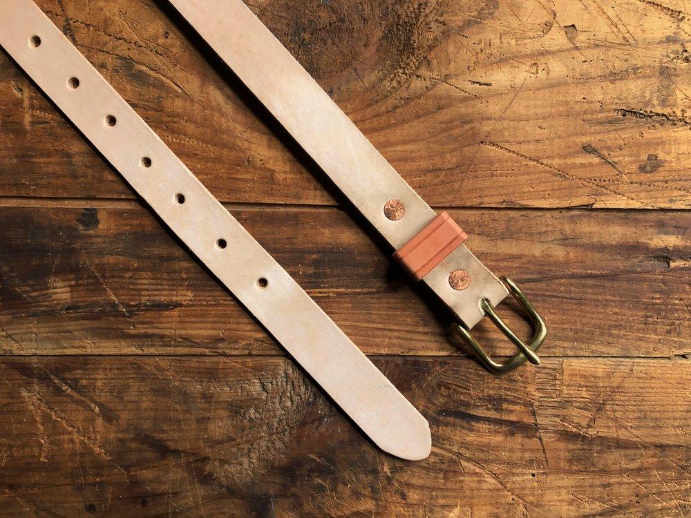 Natural Veg Leather Belt - 1 Inch - 65.00