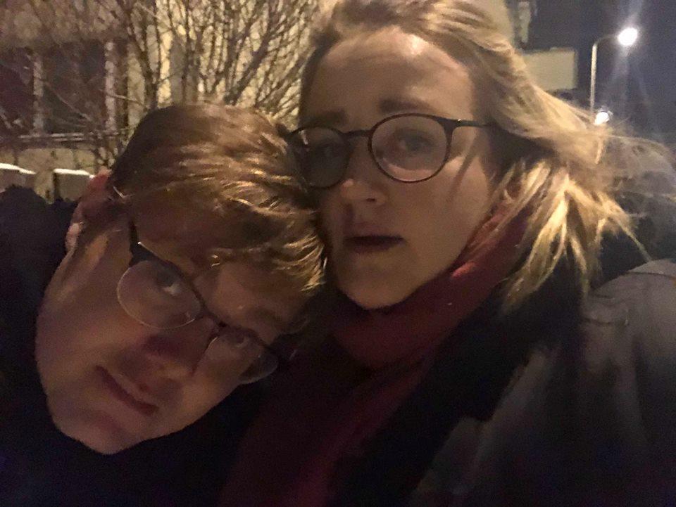 Jag och Pär på väg hem från nån julfest.