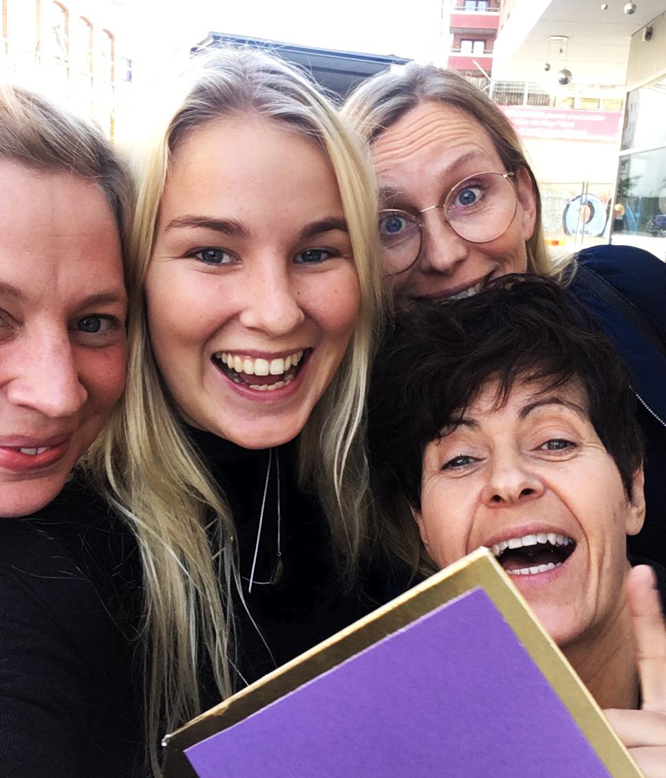 Emmy Bergkvist, Madeleine Nilsson, Maria Örtengren og Susan Myrdal etter Nordic Kids Media Festival 2017.