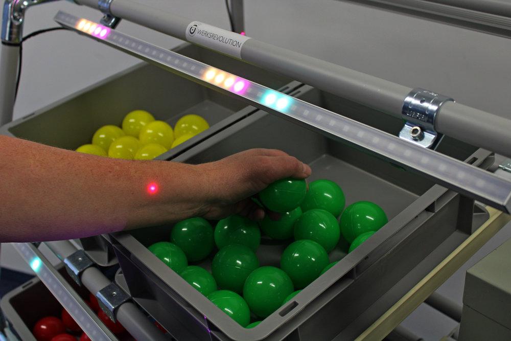 pickFinder - Kommissionierungsassistenz inklusive QuittierungBeliebige Behälter ·Multi-Order-Picking ·Automatische Quittierung