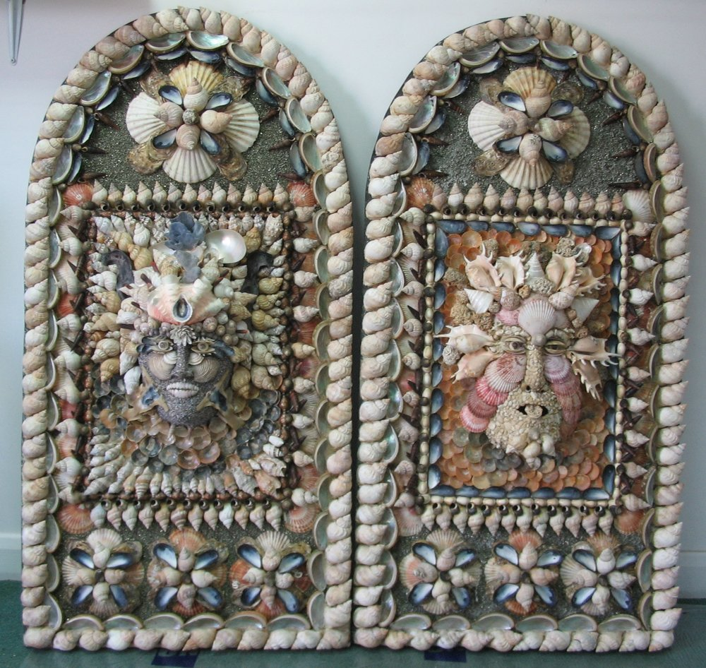 A pair of shell grotesque panels.   On the left, a female with black hammer oyster shell horns. Her forehead composed from a single fluted clam shell and her headress of blue coral, cut nautilus shells, whelk and sea urchin spines.  On the right, a male with protruding tongue. The head constructed from coral fragments, spider conches and noble scallop shells.   Each panel 44 '' x 24 ''