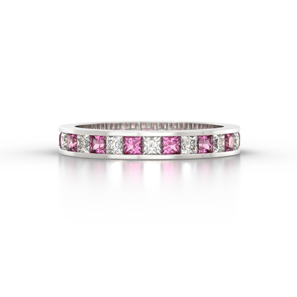 Pink Sapphire & Princess Cut Eternity Ring | Hatton Garden