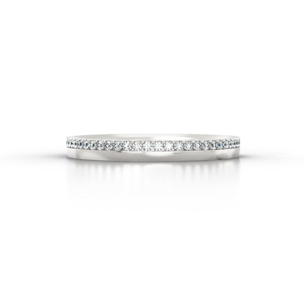 Off-set shared claw diamond eternity ring | Hatton Garden